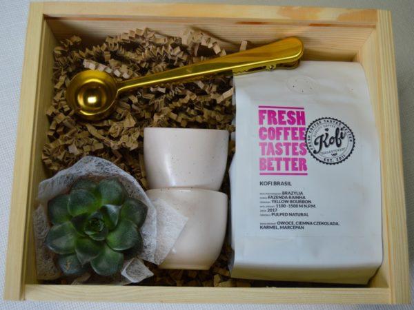zestaw prezentowy z kawą Kofobrand złota miarka do kawy z klipsem kubeczki aoomi mini sukulent