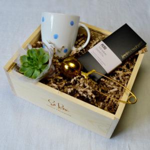 zestaw prezentowy z kubkiem złoty zaparzacz mini sukulent czekolada
