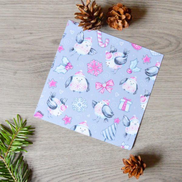 kartka świąteczna szaro-różowa do zestawu prezentowego