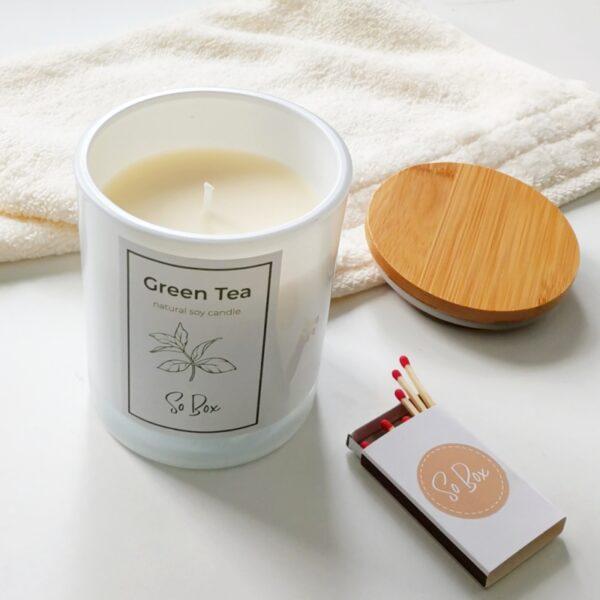 świeca naturalna sojowa green tea świeca zapachowa na prezent