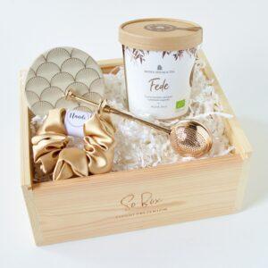 Gold Tea Box dobra herbata na prezent w pudełku drewnianym So Box