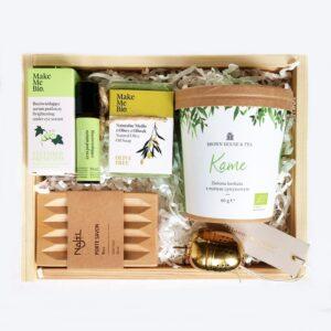 oryginalny box kosmetyczny na prezent z herbatą dla niej na dzień matki