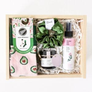 Zestaw prezentowy dla kobiety zielono różowy box prezentowy dla niej giftbox