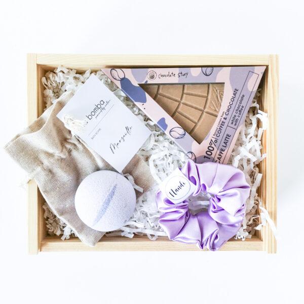 Lawendowy zestaw prezentowy fioletowy box