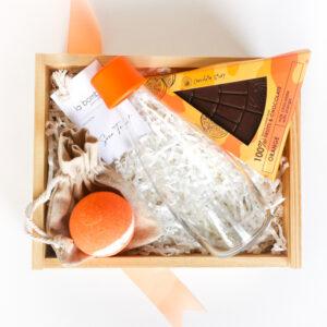 pomarańczowy zestaw prezentowy dla przyjaciółki box prezentowy Orange gift box dla niej