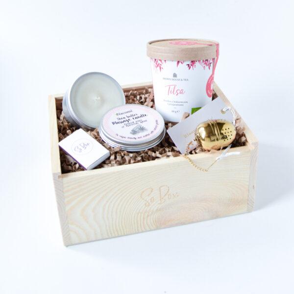 zestaw z herbatą i świecą herbaciany prezent dla niej i dla niego box herbaciany gift box z herbatą