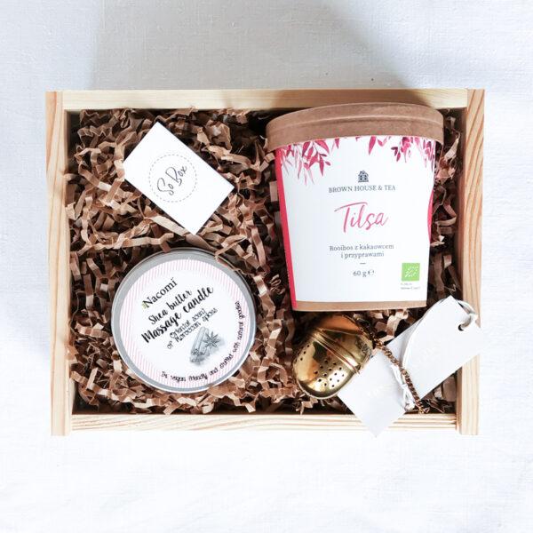 zestaw herbaciany na prezent box prezentowy z herbatą